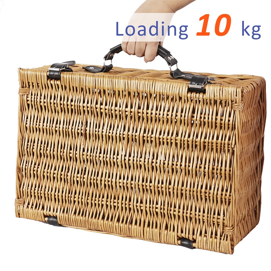 Custom Empty Wicker Picnic Basket For 4 Person,Wicker Picnic Basket With Lid And Handle
