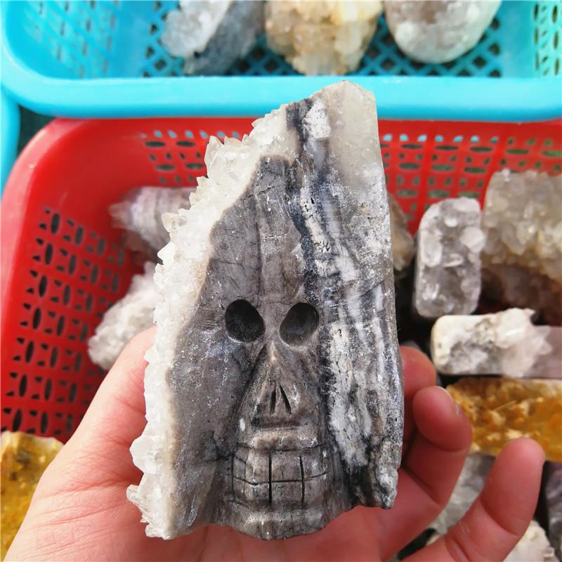 Quartz Crystal Rough Quartz Quartz Cluster Skull Quartz Skull Stone Skull Carving Quartz Clear Quartz Quartz Cluster Skull