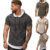 New summer men Tees Round neck stripe Fold Solid color Hoodie T-Shirts Muscle Sweatshirt Cool jogging Sexy muscles GYM clothes