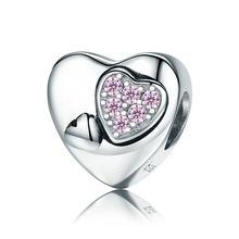 100% 925 пробы Серебряный подарок матери для мамы сердце любовь, сердце, кубический циркон талисманы подходят оригинальный Pandora браслет бусины ...(Китай)