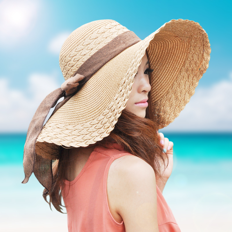 Womens Straw Hat-Vbiger Fashionable Womens Straw Hat Summer Beach Hat Sun Cap Portable Foldable Wide Brim Hat Floppy Hat InformationIf you are looking for a fashionable wide brim hat for yourself, our Vbiger wide brim hat is a great choice for you.