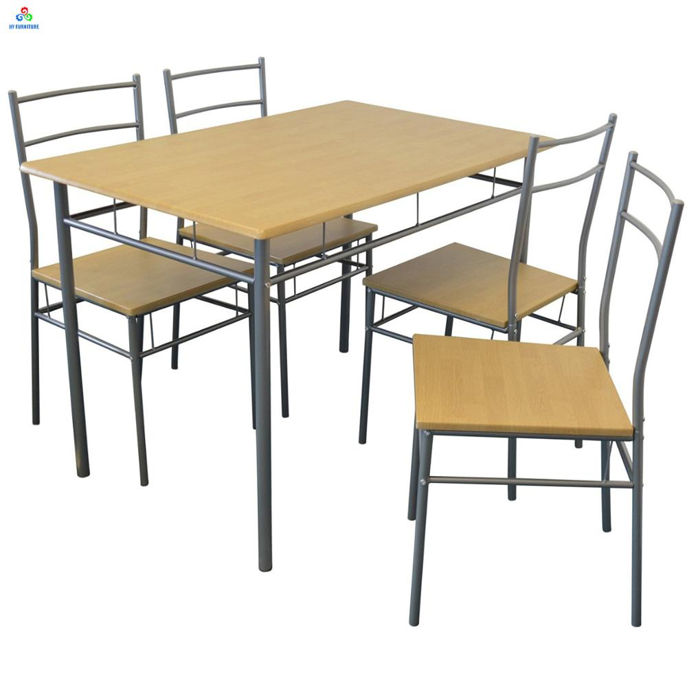 9 Piece Kitchen Breakfast Set Metal Frame Glass Top Dining Table ...