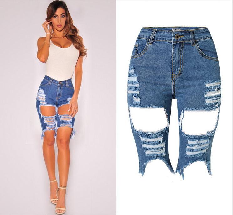 Compra hasta la rodilla pantalones cortos de jean online