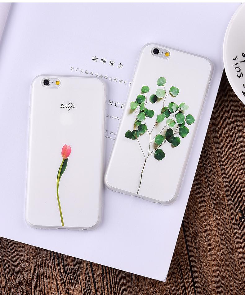 3D Little Sapling Coque Iphone 7 Cases For Iphone 6 6S 7 Plus Fundas Elegant Tulip Peony Silicone Cover Men Women