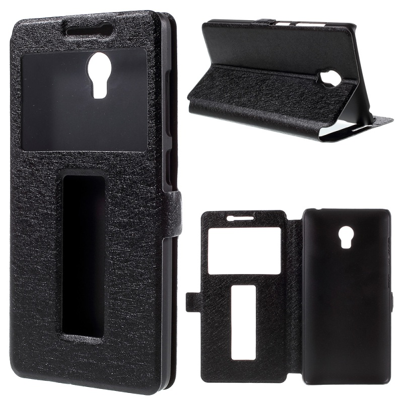 2016 New and Hot Phone Bag for Lenovo Vibe P 1 Dual Windows Silk Leather Stand