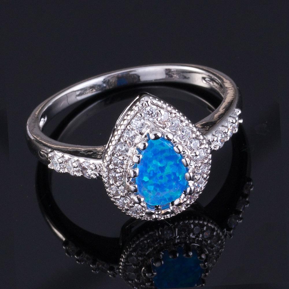 Premium Platinum Plated Fire Blue Pink Orange Opal Ring