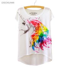 2016 Brand New Cotton t Shirt Women Short Sleeve t-shirts o-neck Causal loose Magic Unicorn T Shirt Summer tops for women
