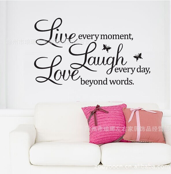 Free shipping love laugh live quote wall decal zooyoo1002 decorative waterproofing removable warm home wall sticker