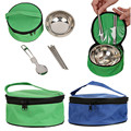 Eco friendly Outdoor 3 in1 Cutlery Set Stainless Steel Bowl Spoon Folding Chopsticks Protable Picnic Travel