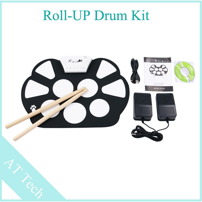 hot sale 1pcs portable usb midi drum kit usb roll up drum kit with foot pedal drum set contains. Black Bedroom Furniture Sets. Home Design Ideas