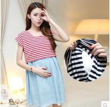 Maternity Dress Casual Cotton Summer Dress Maternity Wear Plus Size Patchwork Stripe Pattern Pregnancy Dress Vestido