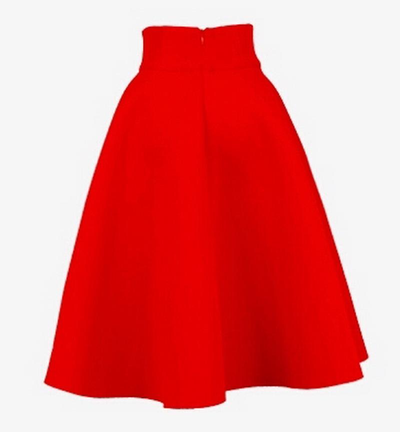19fe9585b Alert High-Waisted A-Line Skirt in Red Denim