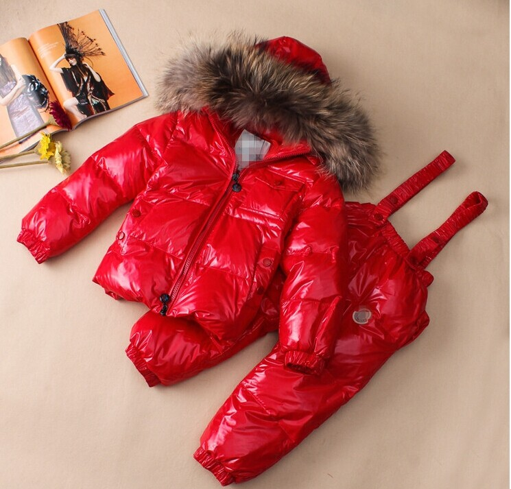 Children s clothing down coat fashion set child large fur collar down coat real fur quality