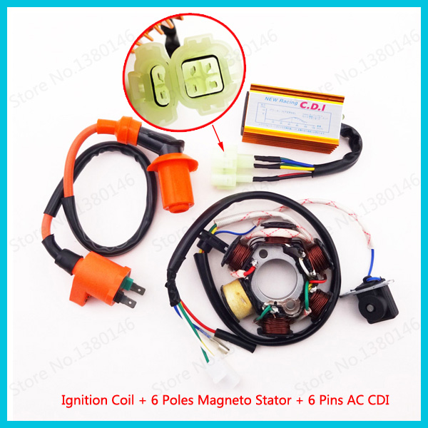 popular cdi ignition buy cheap cdi ignition lots from ignition coil magneto stator coil 6 poles ac cdi box 6 pin for gy6 50cc moped