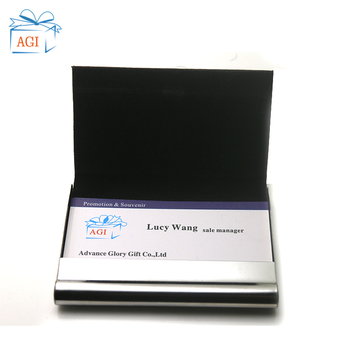 Magnetic Shut Business Name Credit Id Bank Visa Leather Cover Metal Business Credit Card Holder Multi Card Box