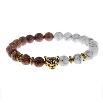 Fashion Men's Jewelry 8MM Wood Beads Natural White Howlite Red Elastic Rope Leopard Head Bracelet