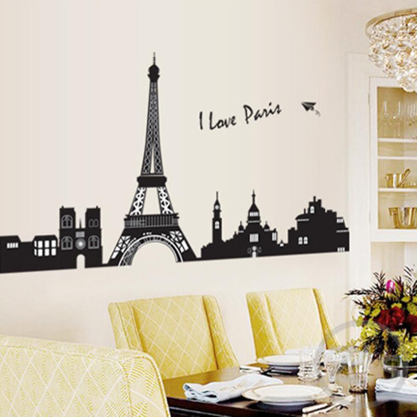 buy i love paris wall sticker eiffel tower home decor black adhesive france. Black Bedroom Furniture Sets. Home Design Ideas