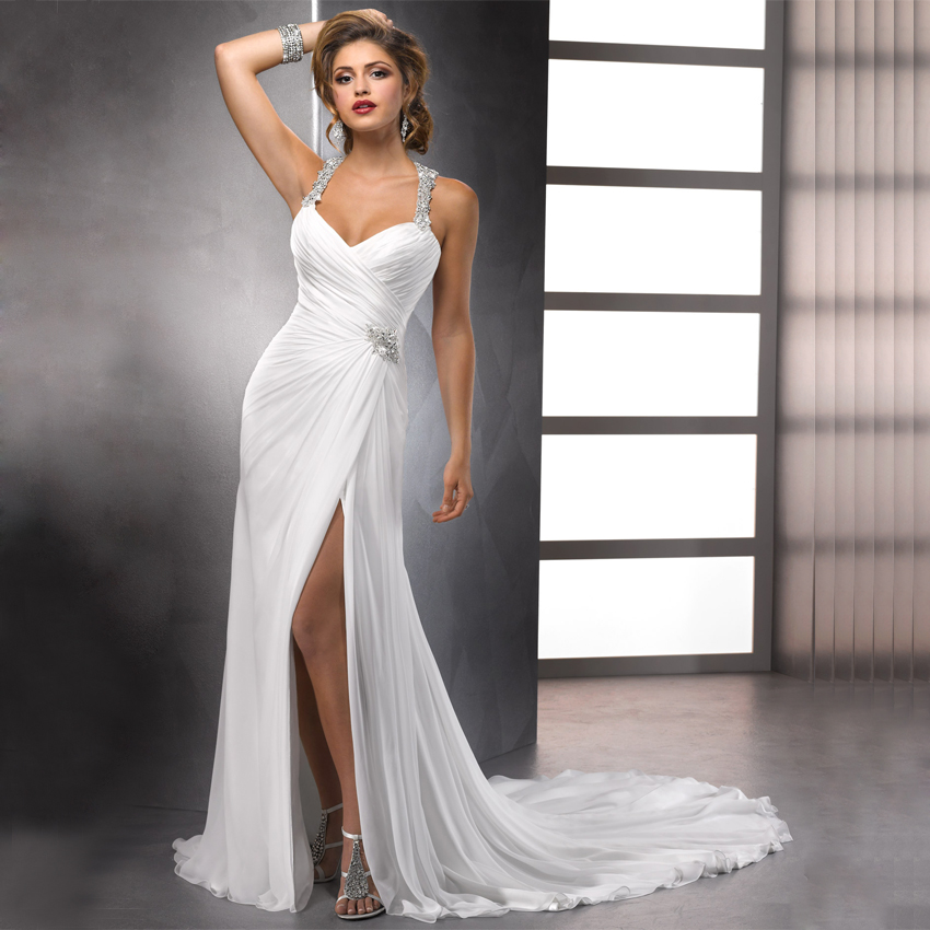 Aliexpress.com : Buy Sexy High Slit Chiffon Wedding