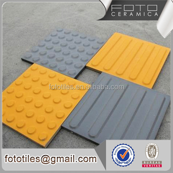 Grey yellow color porcelain material tactile tile floor