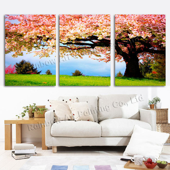 Large Wall Pictures For Living Room: Aliexpress.com : Buy 3 Piece Romantic Flower Canvas