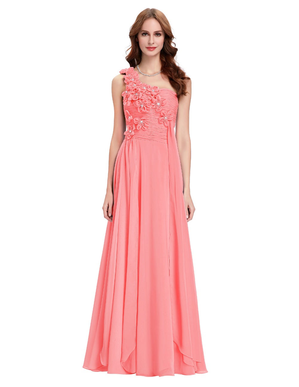 Aliexpress.com : Buy Coral Bridesmaid Dresses Long One ...
