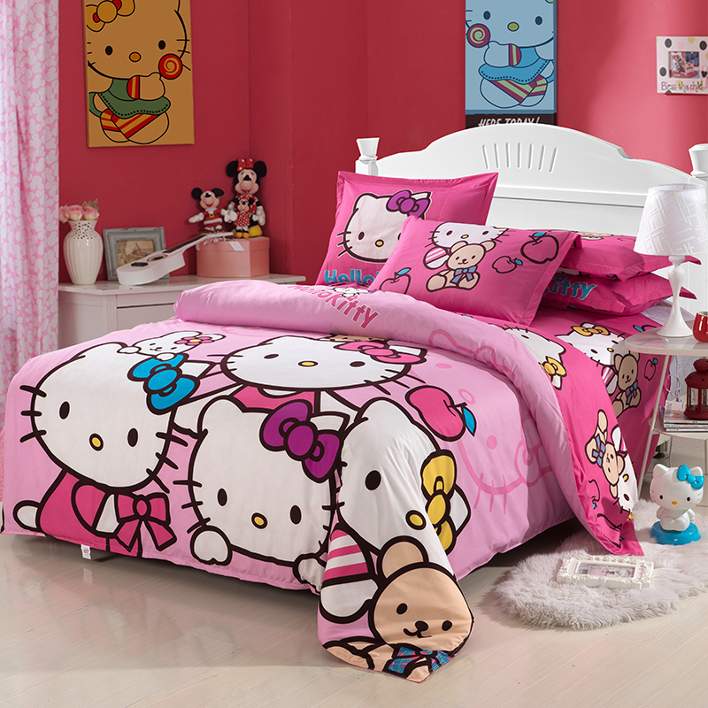 new hello kitty children kids bedding sets for girls twin full queen size duvet cover bed sheet. Black Bedroom Furniture Sets. Home Design Ideas