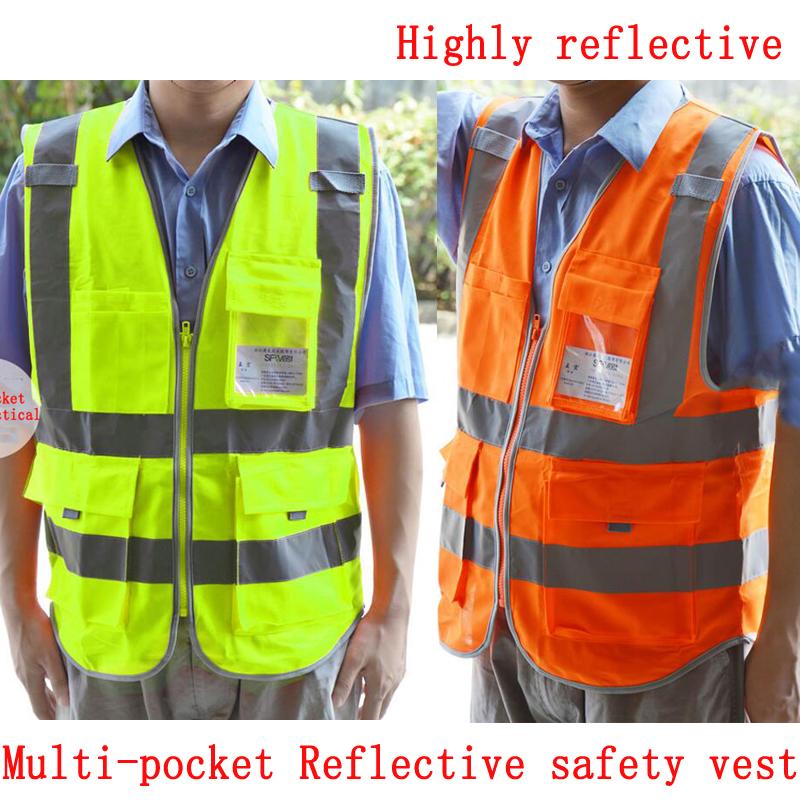 Multi Pocket Reflective Safety Vest Construction Work