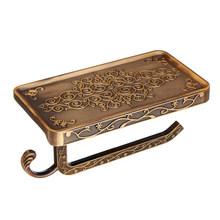 Античный резной цинковый сплав для ванной комнаты бумажный держатель для мобильного телефона с полкой для ванной полотенца для туалетной б...(Китай)