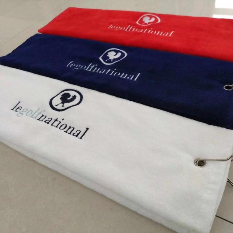 Полотенце для гольфа из 100% хлопка с вышивкой и пряжками