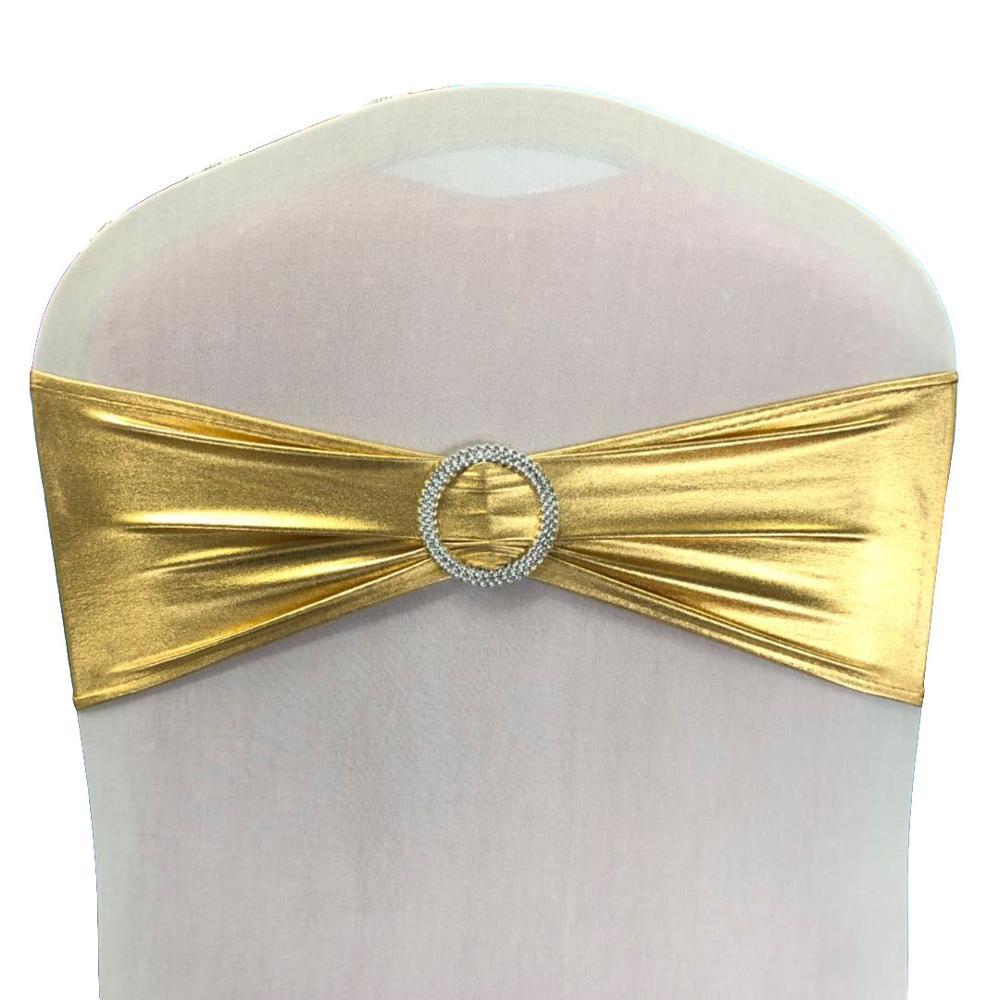 Fancy cheap metallic gold chair sashes for wedding