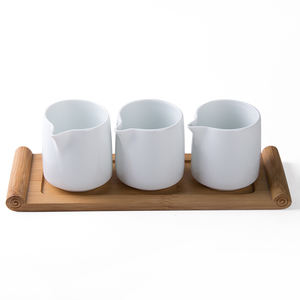 Home Restaurant use items drinking tools tableware hihg quality porcelain white color milk cup with bamboo tray
