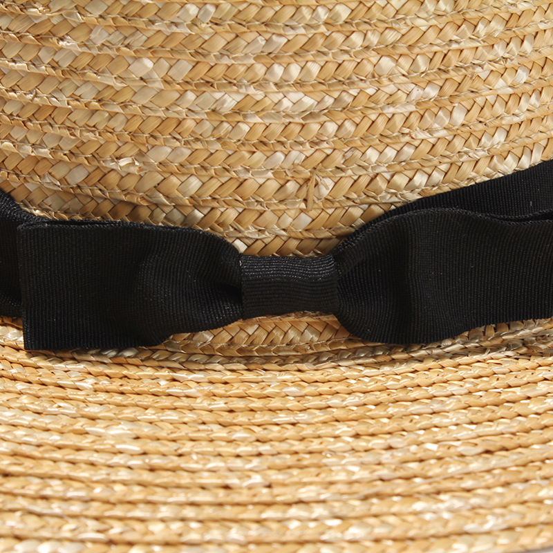 high quality fashion summer custom flat wide brim natural wheat straw boater hat wholesale
