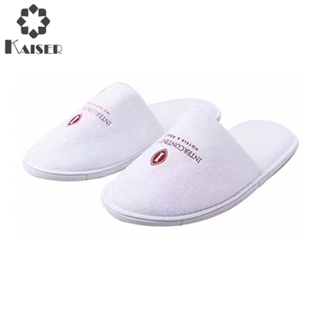 Disposable washable hotel slippers/close toe/white cotton