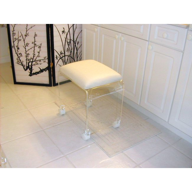 White Cushion Clear Acrylic Bathroom Vanity Stool On Casters Buy Rolling Vanity Stool Acrylic Vanity Stool Bathroom Stool Product On Alibaba Com