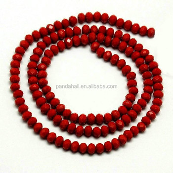 PandaHall 4x3mm Rondelle Beads Red Beads Faceted Opaque Solid Crystal Glass Abacus Beads Strings