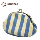 Wholesale Fashion Stripe Fabric Small Coin Purse Case and Cheap Mini Crochet Coin Bag for Women Making Companies from China