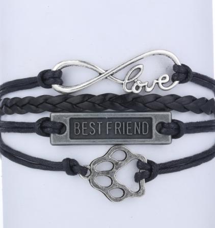 3pcs handmade bracelet Infinity Love Dog Paw Print ...