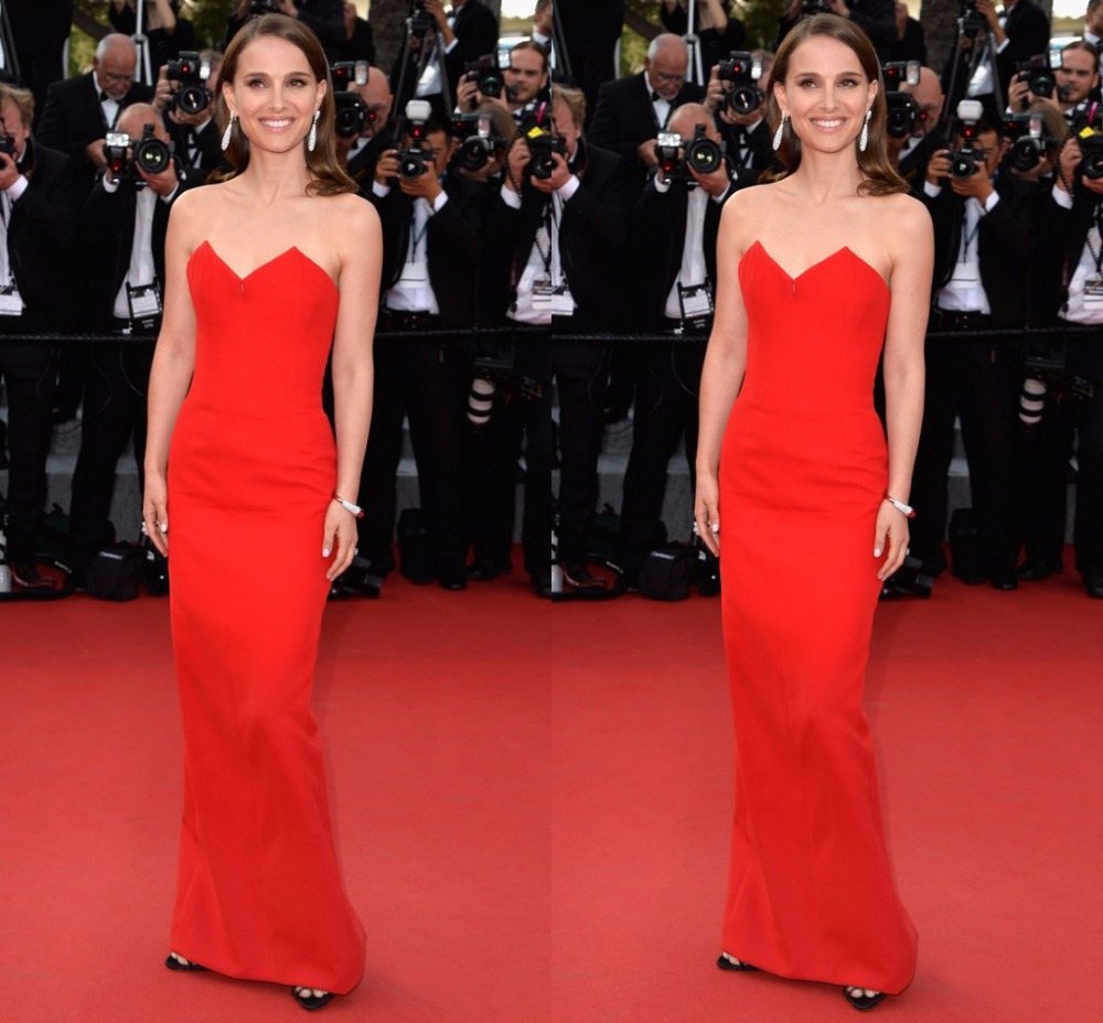 New Trendy Red 2015 Natalie Portman Red Long Gowns At
