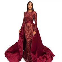 Блестящее вечернее платье с блестками и длинным рукавом, со съемным шлейфом, Саудовская Аравия, зеленый, формальный выпускной вечер, вечерн...(China)