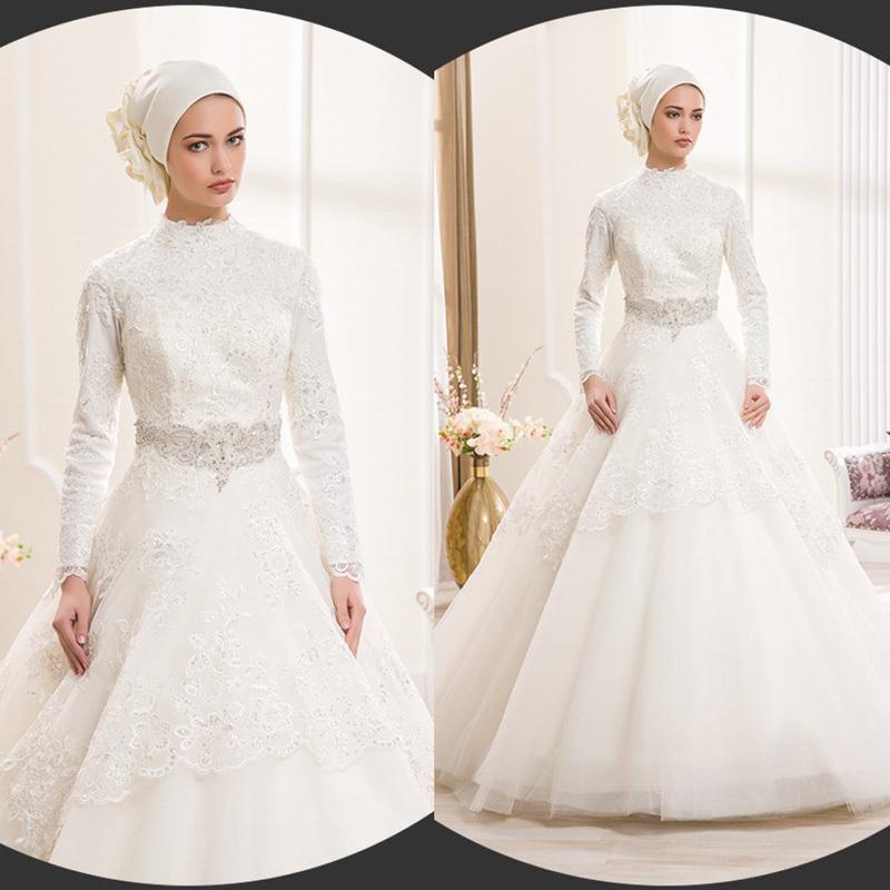 Elegant Long Sleeve Wedding Dresses Muslim Dress 2015: Ivory Lace Ball Gown Muslim Wedding Dresses 2015 Long