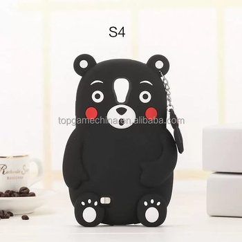 Blank bear animal silicone cell phone case for Samsung Galaxy s4 rubber back case cover