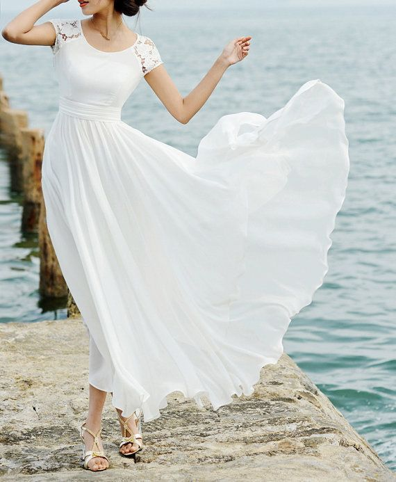 Long Sleeve White Lace Bodice Chiffon Skirt Elegant Simple: Sexy-Scalloped-Lace-Chiffon-Ankle-Length-Beach-Bridal