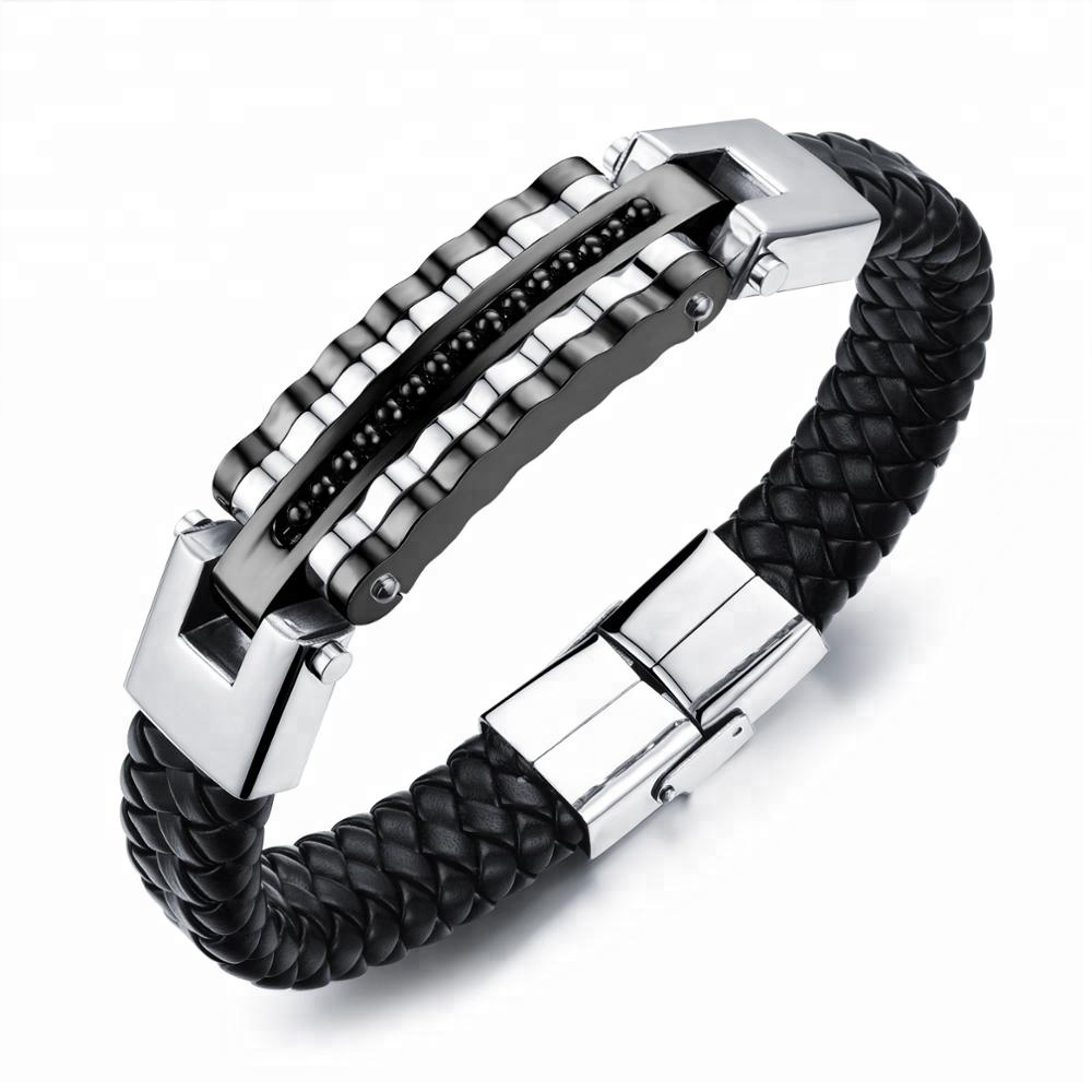 Free Shipping Leather Woven Leather Bracelet 100% Leather Jewelry Fashion Men Paracord Bracelet