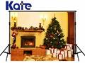 Kate Christmas Photography Backgrounds camera fotografica White Gift Box Christmas Tree Backdrops Stove Children Photo Studio