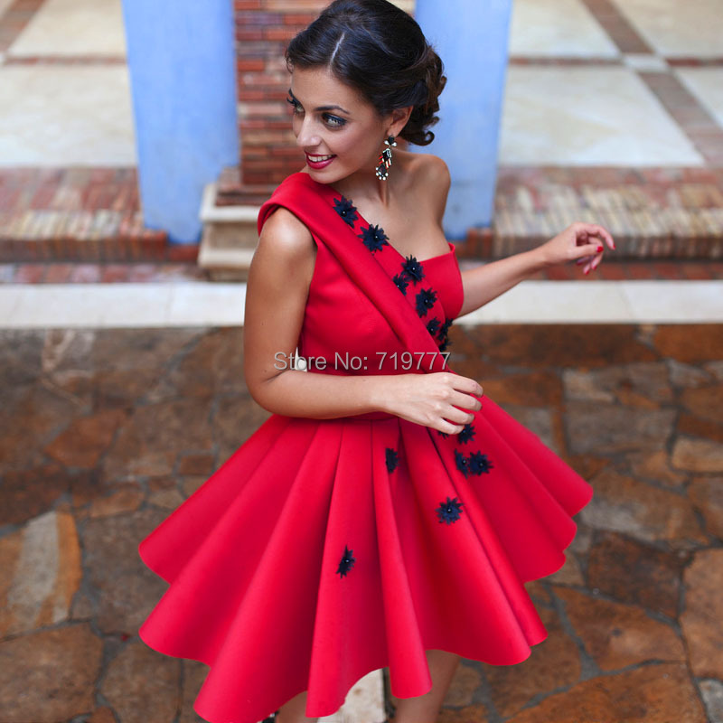 Discount Free Shipping Cwds078 One Shoulder With: Popular Big Red Prom Dresses-Buy Cheap Big Red Prom