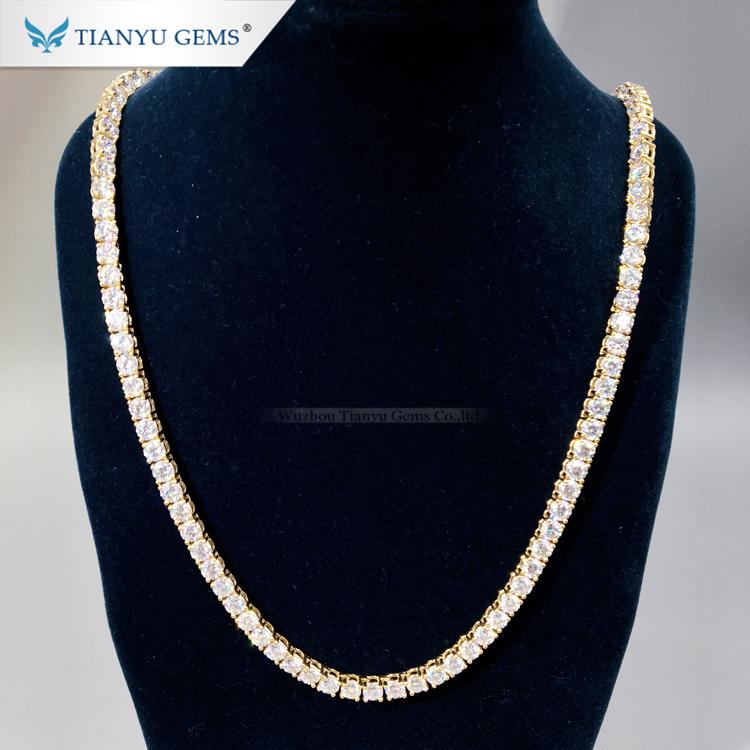 Роскошная мужская цепочка Tianyu Gem из твердого золота, ювелирные изделия в стиле хип-хоп 4,5 мм, круглый бриллиант с муассанитом, ожерелье для тенниса