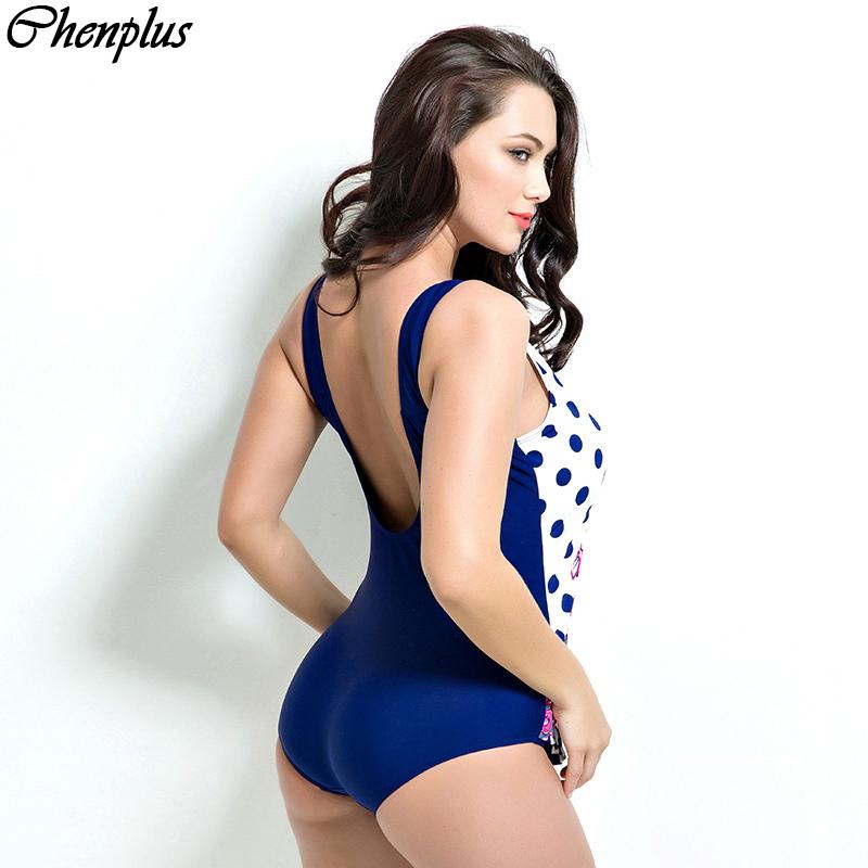 057590885 Chenplus Plus size one piece swimsuit dot print summer style 2016 maillot  de bain push up