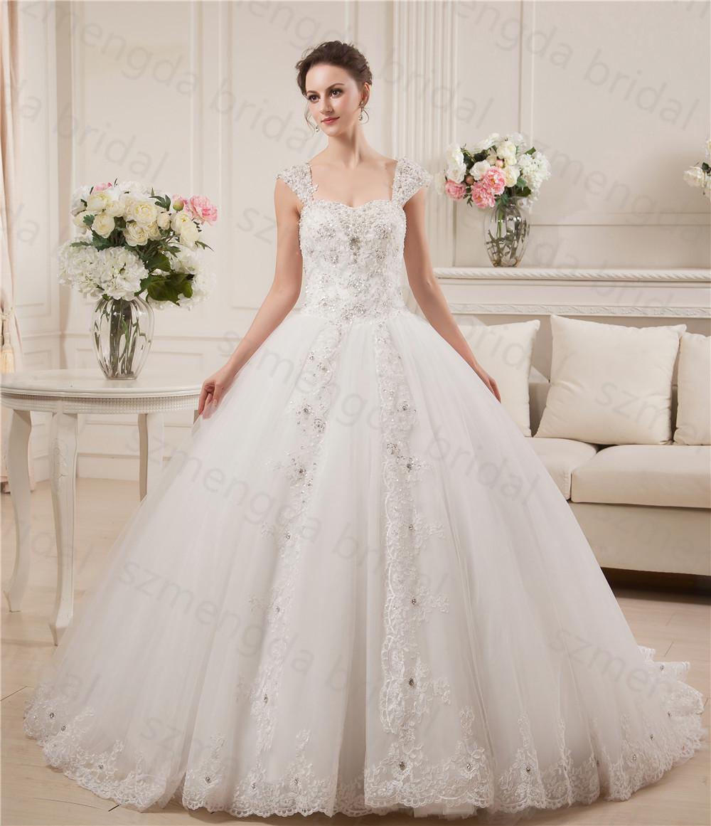 Custom Made White Women Bride Ball Gown Lace Hem Cap