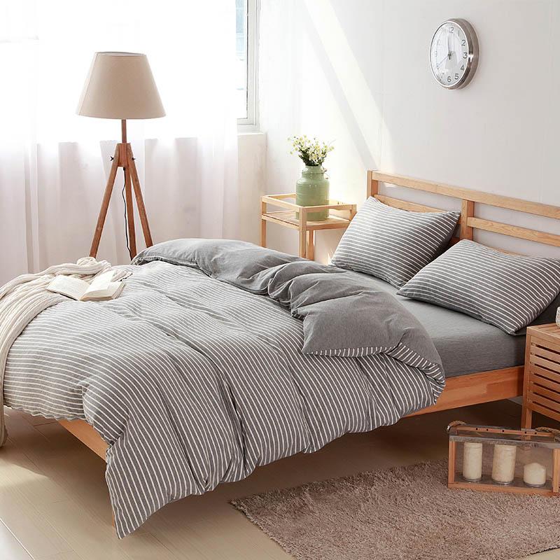4 pcs100 cotton white striped bedding sets luxury bed