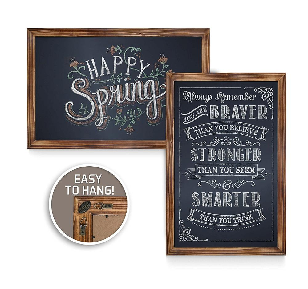 Rustic Torched Wood Magnetic Wall Chalkboard Small Size 11x17inch Framed Decorative Chalkboard